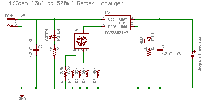 Lithium Ion Battery Charger with Microchip MCP73831 on 24vdc 40 amp controller charger schematic, usb charger schematic, lithium charger schematic, lipo charger schematic, 12 volt fence charger schematic, car charger schematic, nicad charger schematic, cell charger schematic, solar charger schematic, battery charger schematic,