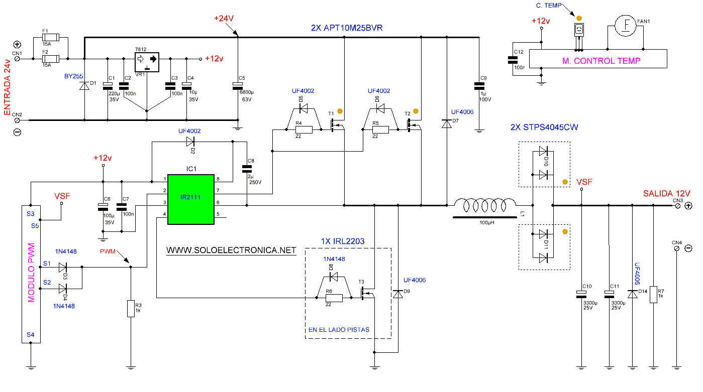 24v To 12v 400w Dc Inverter Fet Voltmeter Circuit Schematic Diagram