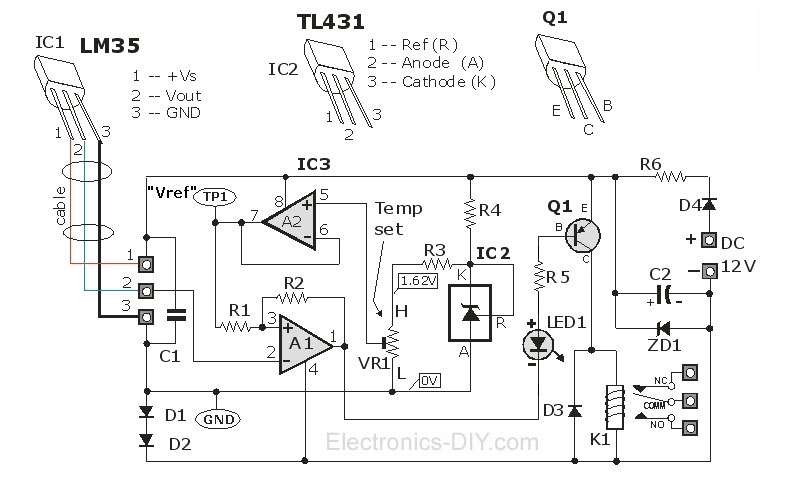 Thermostat Controller with Relay using LM35 and TL431