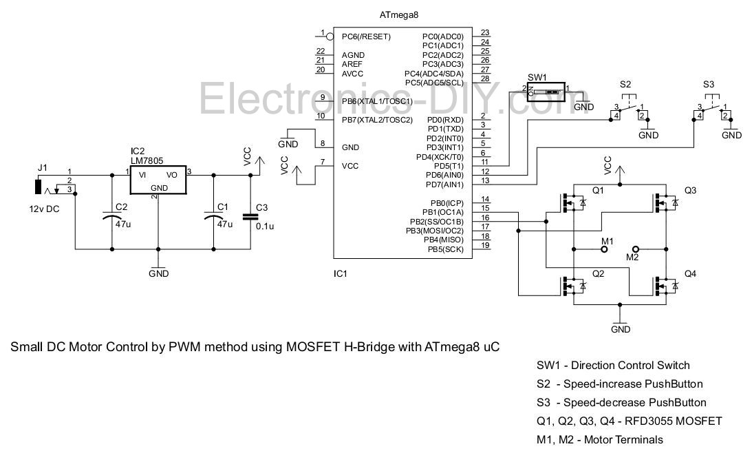 pwm motor driver with mosfet h bridge and avr atmega8 rh electronics diy com