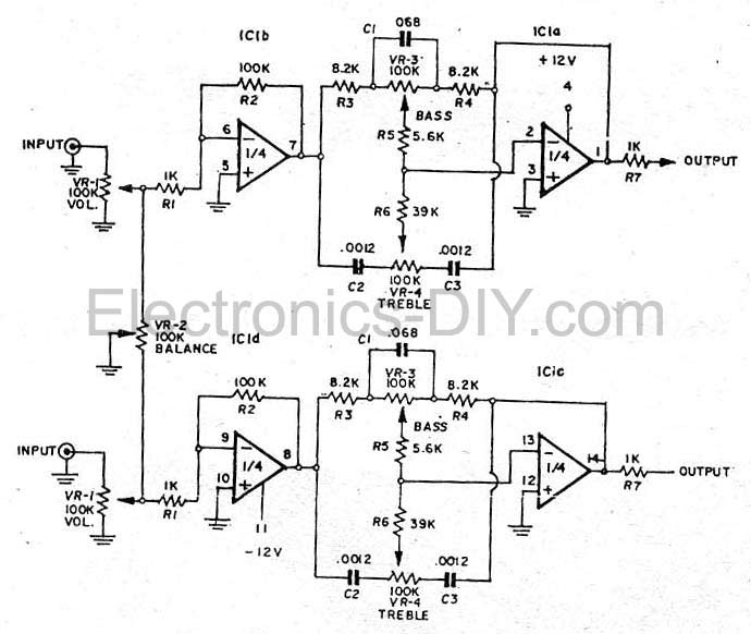 Bass Treble Tone Control Circuit | Bass Treble Circuit Diagram 4558 |  | Electronics DIY