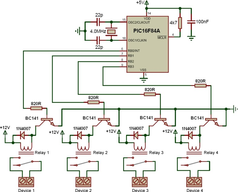 pic controlled relay driver rh electronics diy com relay control wiring diagram lighting control relay wiring diagram