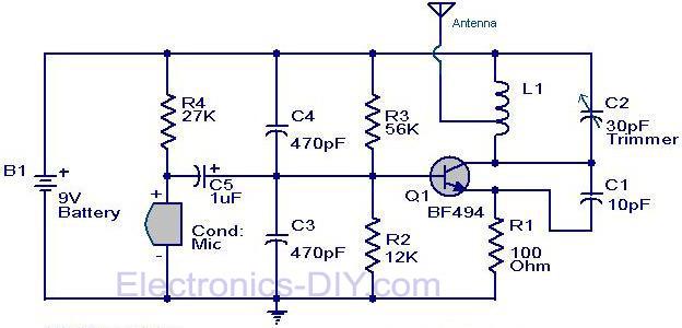 fm transmitter circuit rh electronics diy com simple fm transmitter circuit diagram max2606 fm transmitter circuit diagram