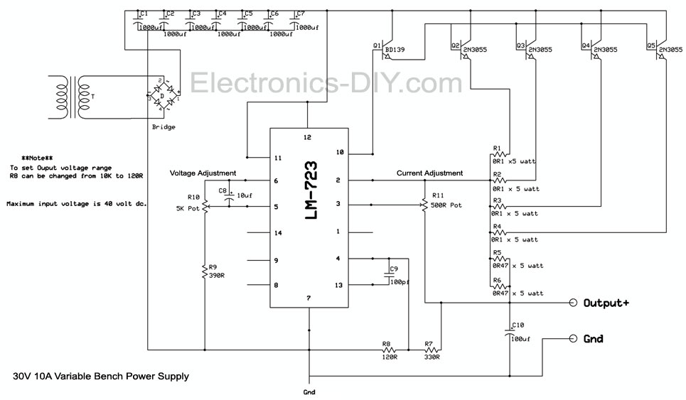 30v 10a variable bench power supply rh electronics diy com  0-30v variable power supply circuit diagram