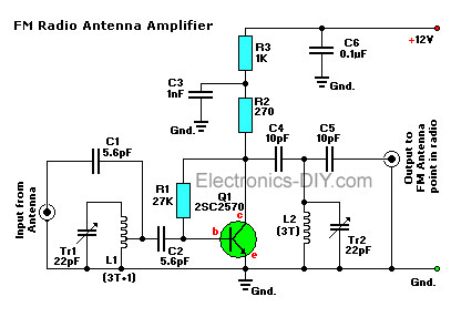 active fm antenna booster rh electronics diy com fm transmitter booster circuit diagram fm transmitter booster circuit diagram