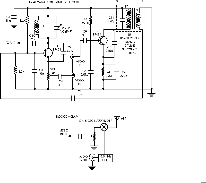 VHF Audio Video Transmitter on wifi transmitter schematic, vlf transmitter schematic, rf transmitter schematic, cellular transmitter schematic, am transmitter schematic, bluetooth transmitter schematic, television transmitter schematic, hf transmitter schematic, shortwave transmitter schematic, 900 mhz transmitter schematic, elf transmitter schematic, tv transmitter schematic, cw transmitter schematic, radio transmitter schematic, fm transmitter schematic,