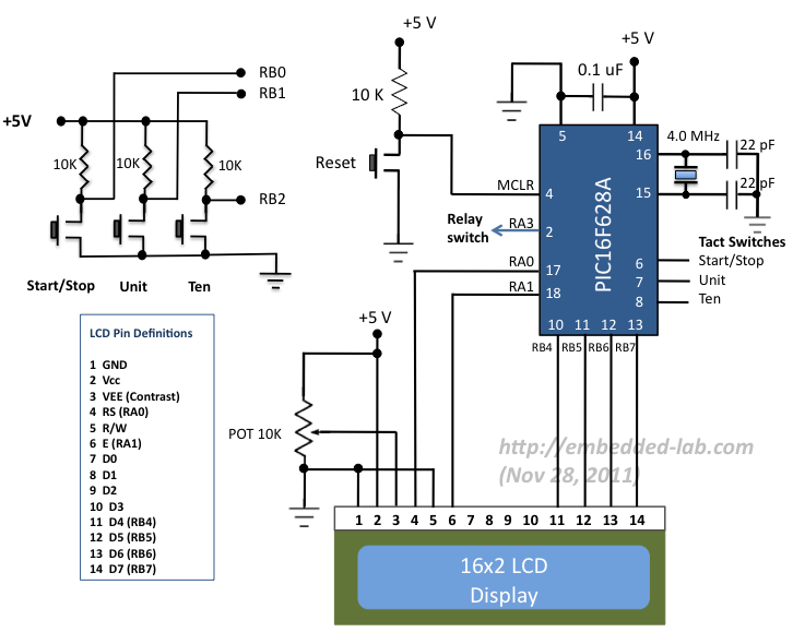 Relay Timer with PIC16F628