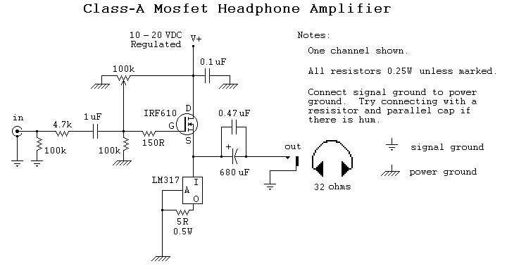 Class-A Mosfet Headphone Amplifier