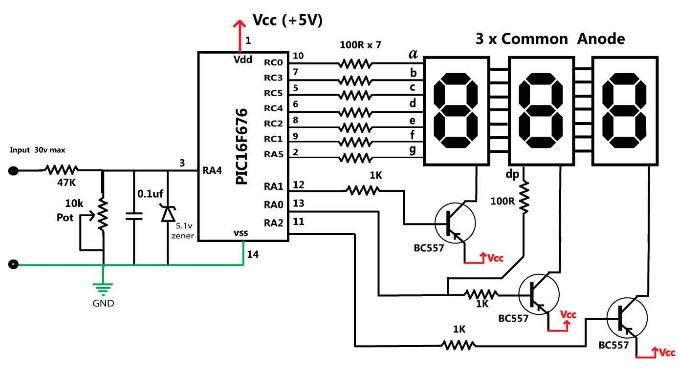 30v Volt Meter With Pic16f676 Led Circuits And Projects Blog Light Circuit