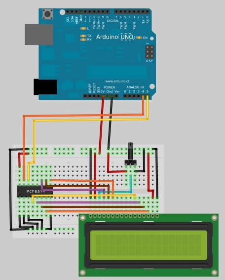 Two wire i c arduino lcd display