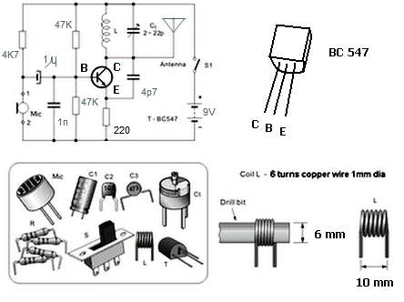 Simple Fm Transmitter With Bc549 on radio wire diagram