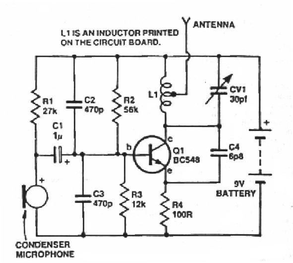Transmitter Circuit Diagram | One Transistor Fm Transmitter
