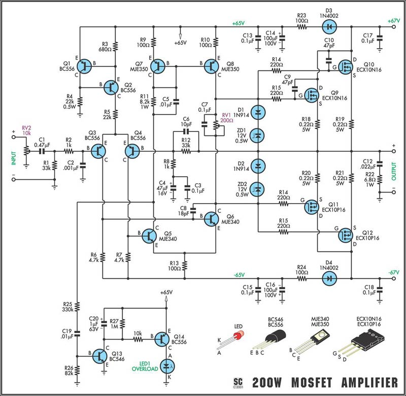 preamp wiring diagram with 200w Mosfet  Lifier on Diyschemes in addition Schems moreover 200w Mosfet  lifier further Peavey Schematics Download also Cheap Piezo Pre  Buffer Kits.