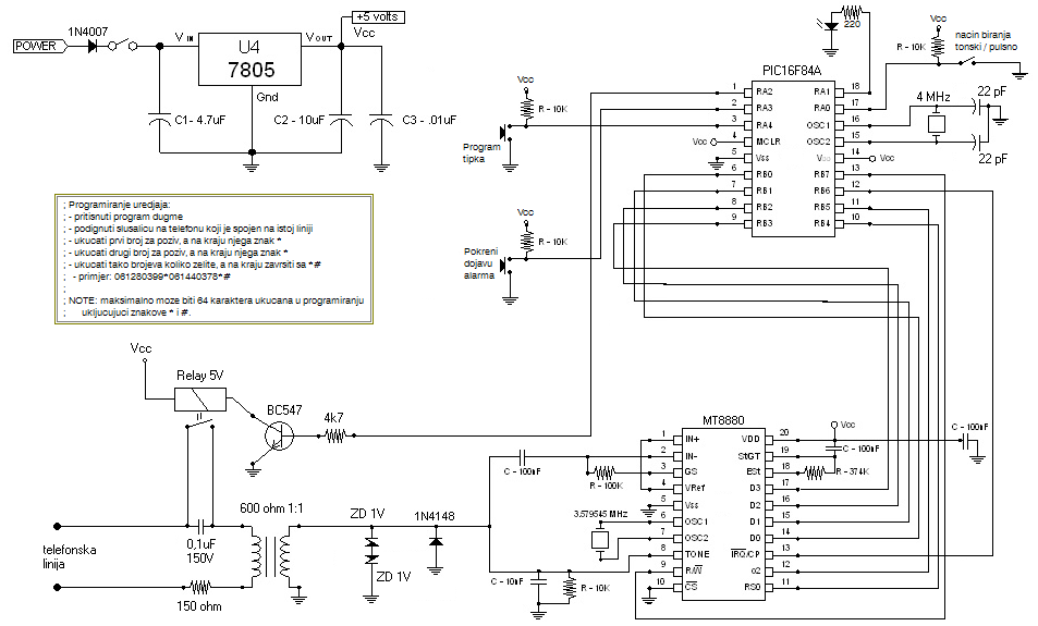 connecting mt8880 dtmf transceiver