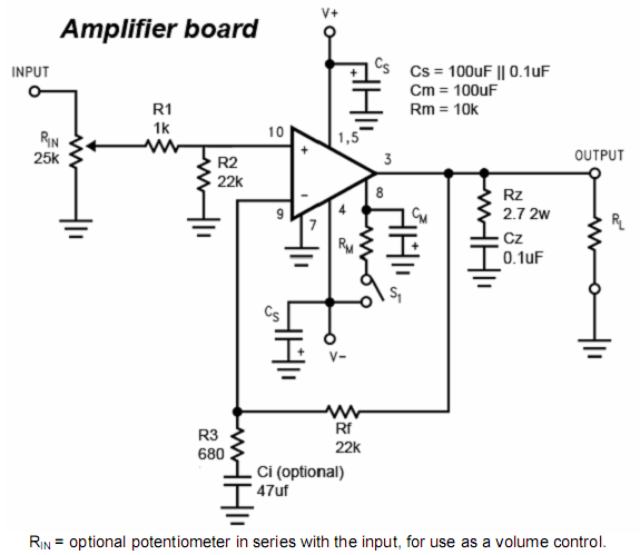 lm3886 monoblock gainclone amplifier