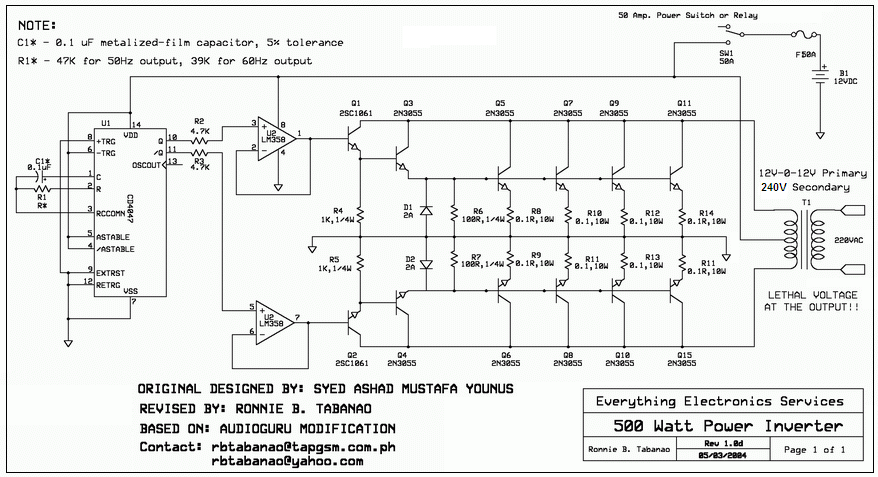 12v to 110v   220v 500w inverter ac generator schematic