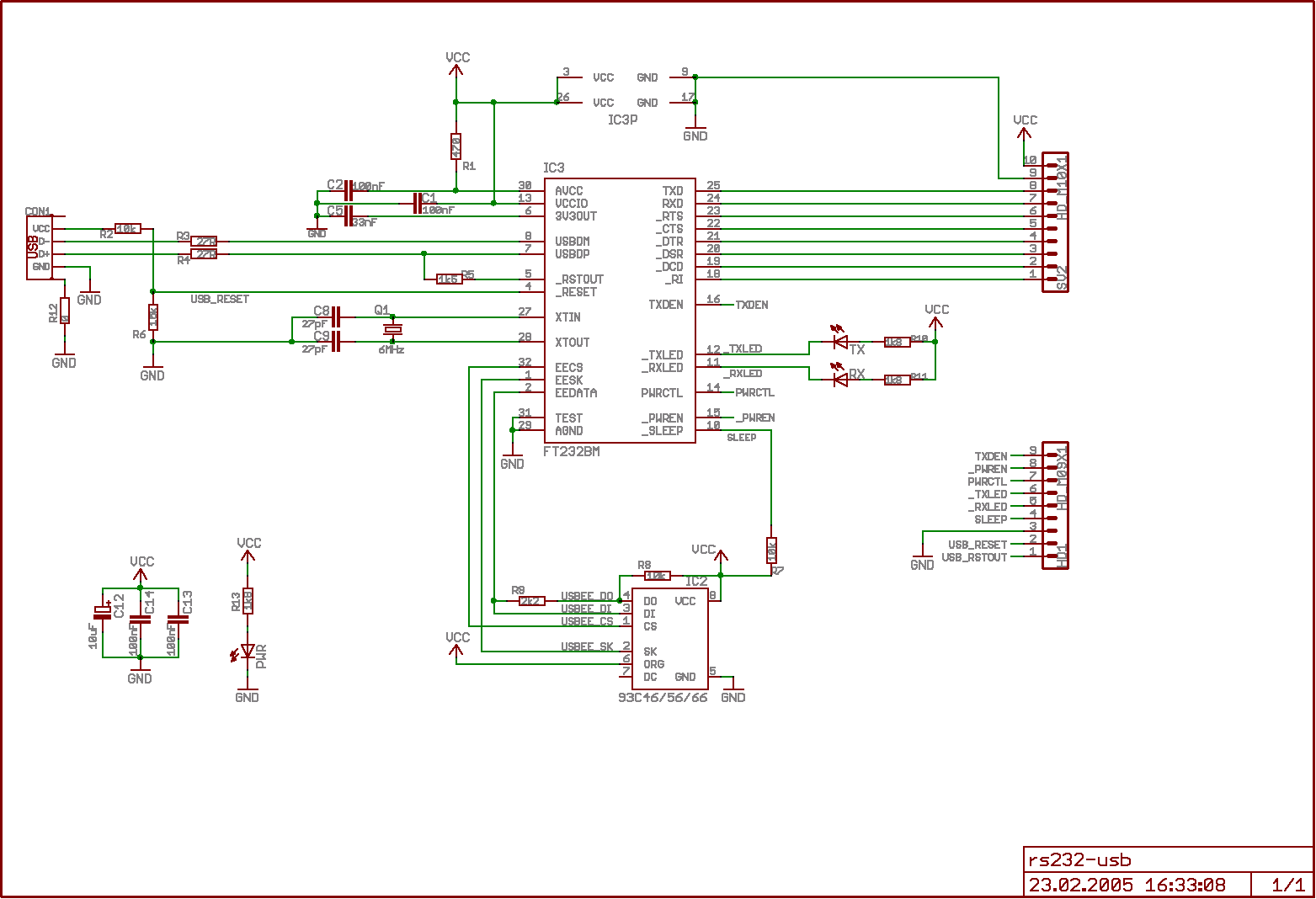 Usb To Rs232 Converter Schematic: to RS232 Adapter with FT232rh:electronics-diy.com,Design