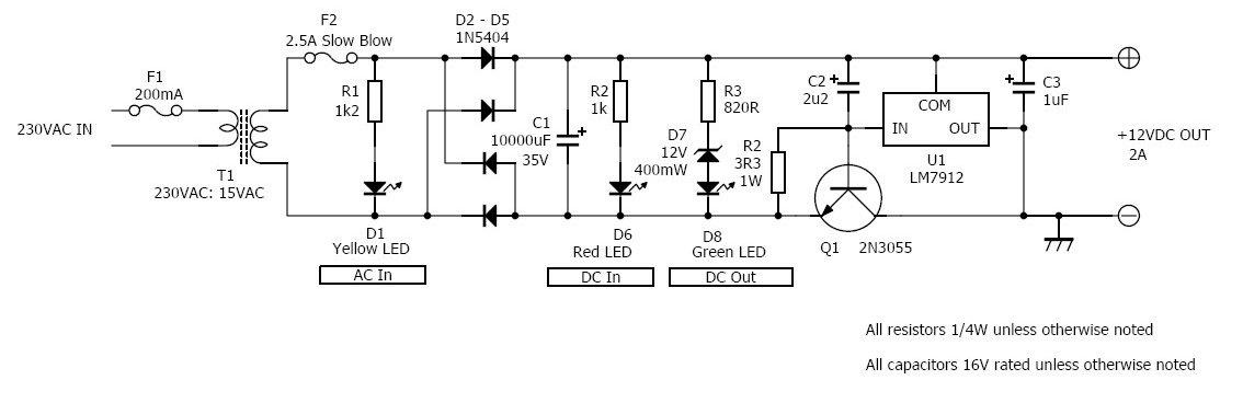 12v 2a Linear Power Supplyrhelectronicsdiy: 12v Power Supply Schematic At Gmaili.net