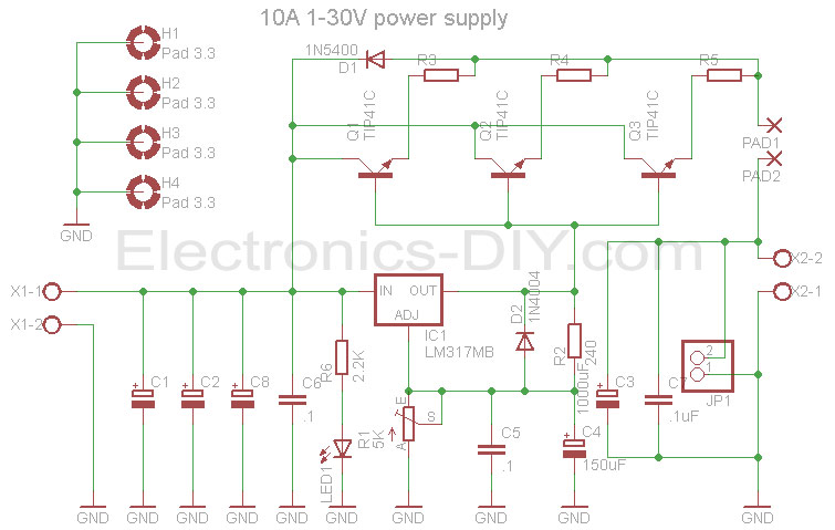 10A 1-30V Variable Power Supply with LM317