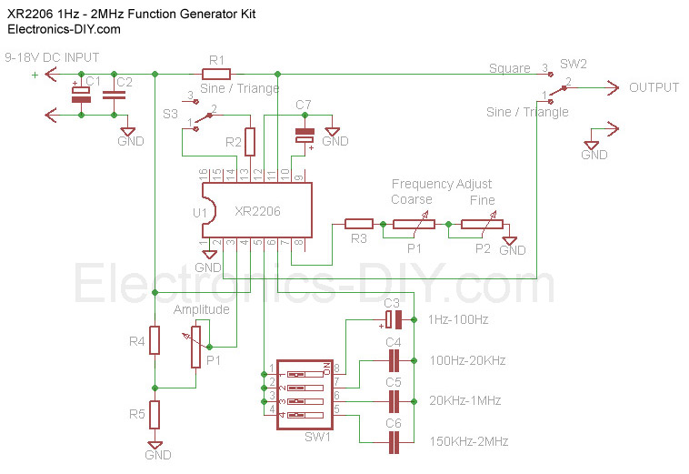 1Hz - 2MHz Function Generator with XR2206 schematic
