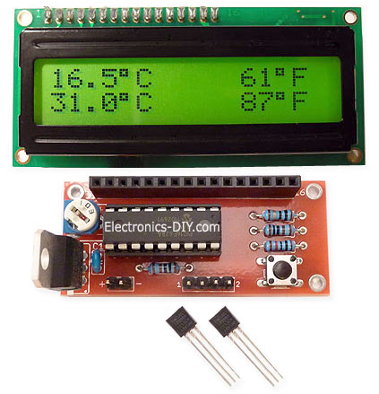 DS18S20 Dual Temperature Meter Kit - Green Backlight LCD