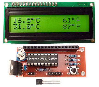 DS18S20 Temperature Meter Kit - Blue Backlight LCD