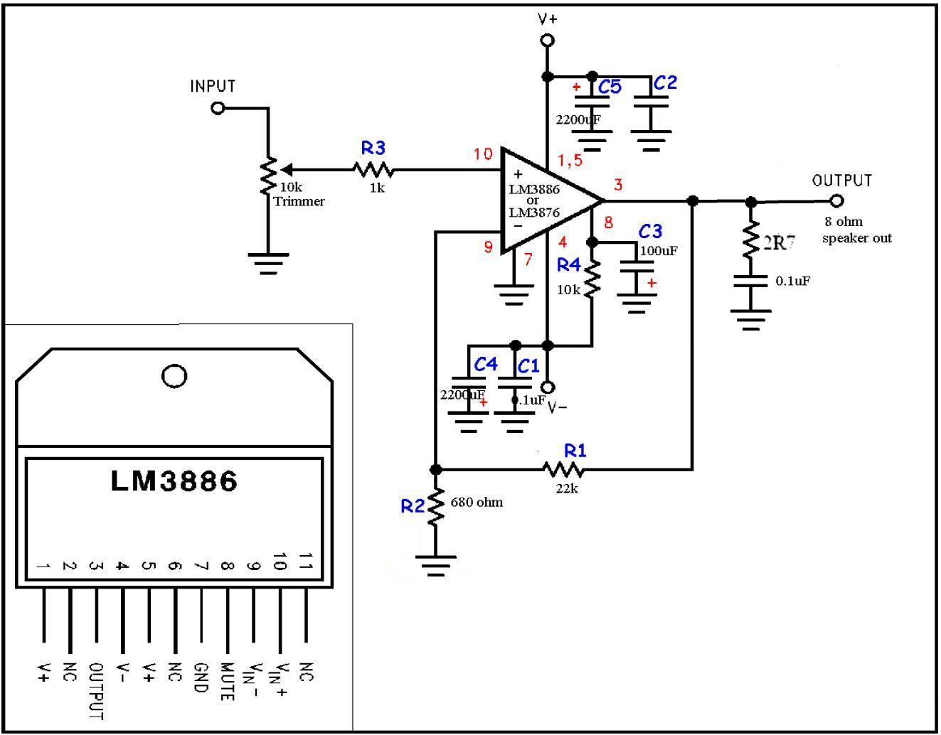 Ampli Lm3886 Schema Ultra Simple 0 Amplifier T Mosfet Audio Circuit 20 Watts Diagram Electronic