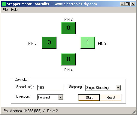 Stepper Motor Controller with Parallel Port